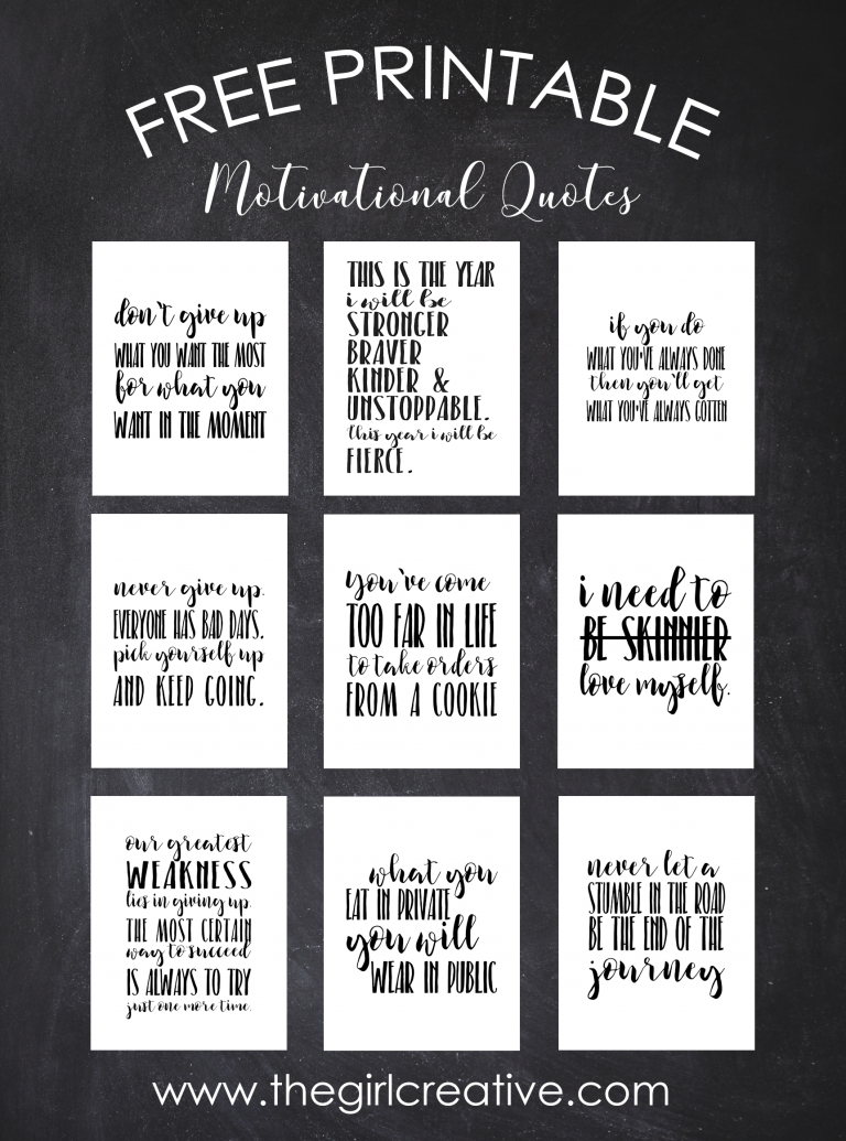 Free Printable Motivational Quotes   Printables   Weight Loss - Free Printable Inspirational Quotes