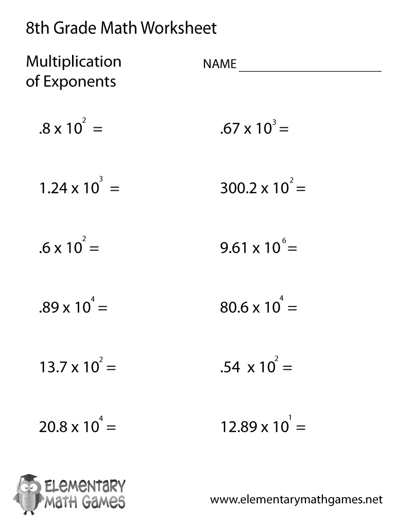 Free Printable Multiplication Of Exponents Worksheet For Eighth Grade - Free Printable 8Th Grade Algebra Worksheets