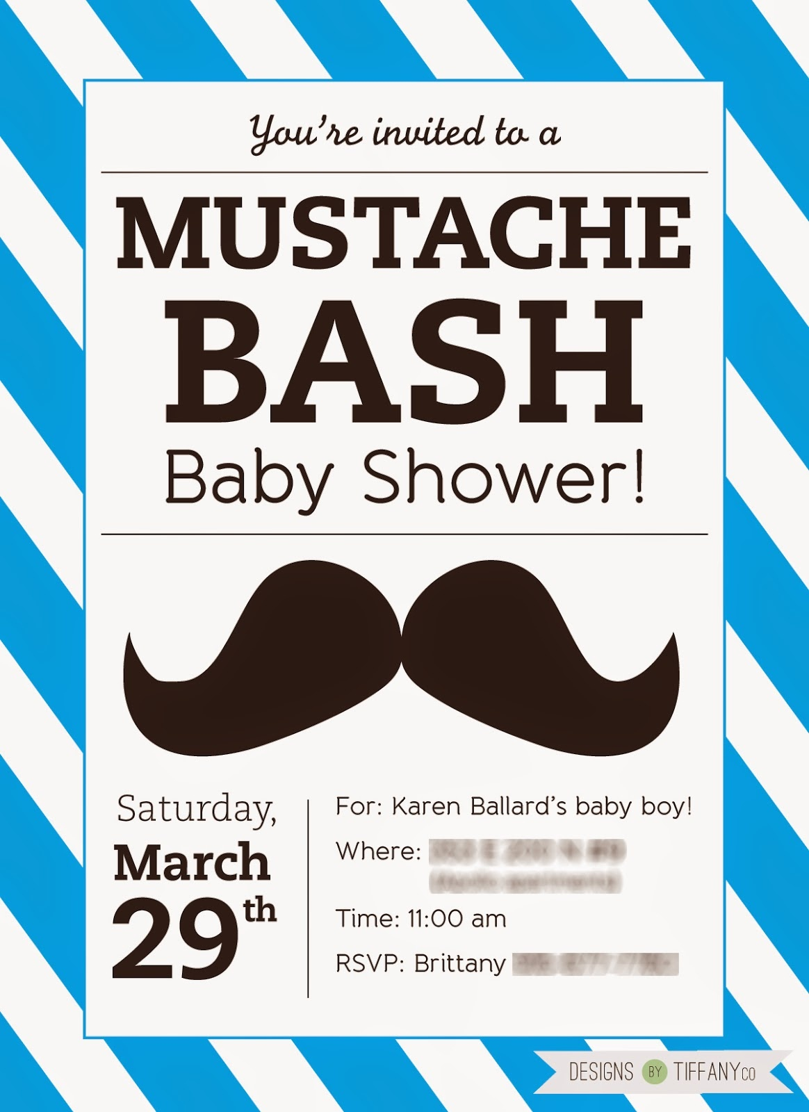 Free Printable Mustache Baby Shower Bash! - Designstiffanyco - Free Printable Mustache Invitations