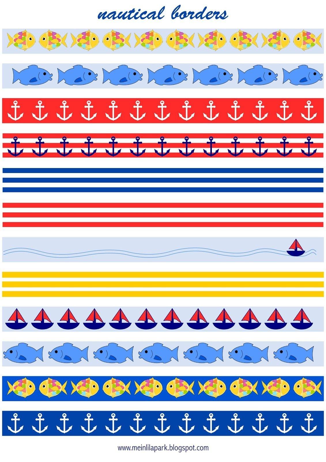 Free Printable Nautical Planner Stickers : Borders - Fake Masking - Free Printable Borders For Scrapbooking