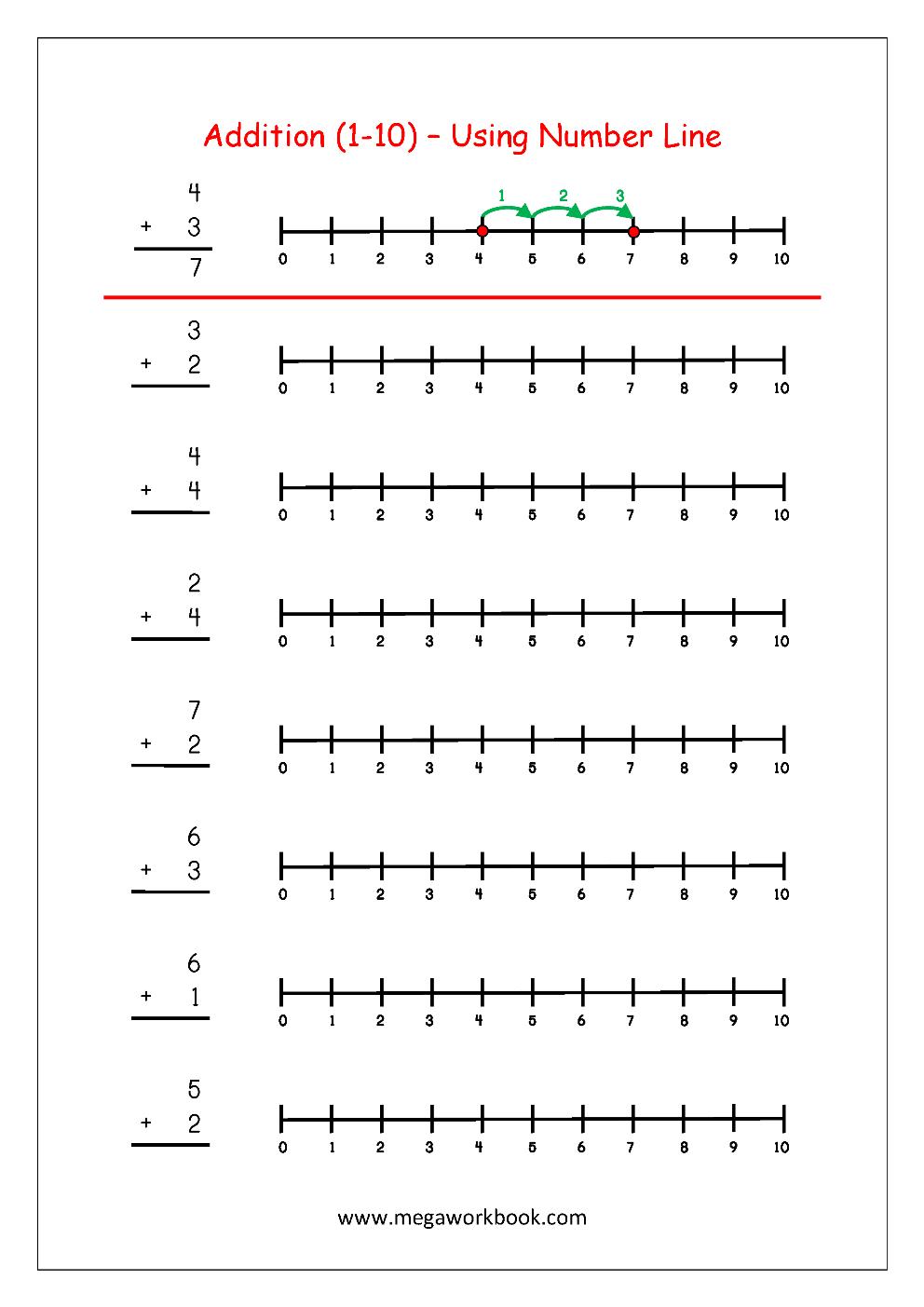 Free Printable Number Addition Worksheets (1-10) For Kindergarten - Free Printable Number Line Worksheets