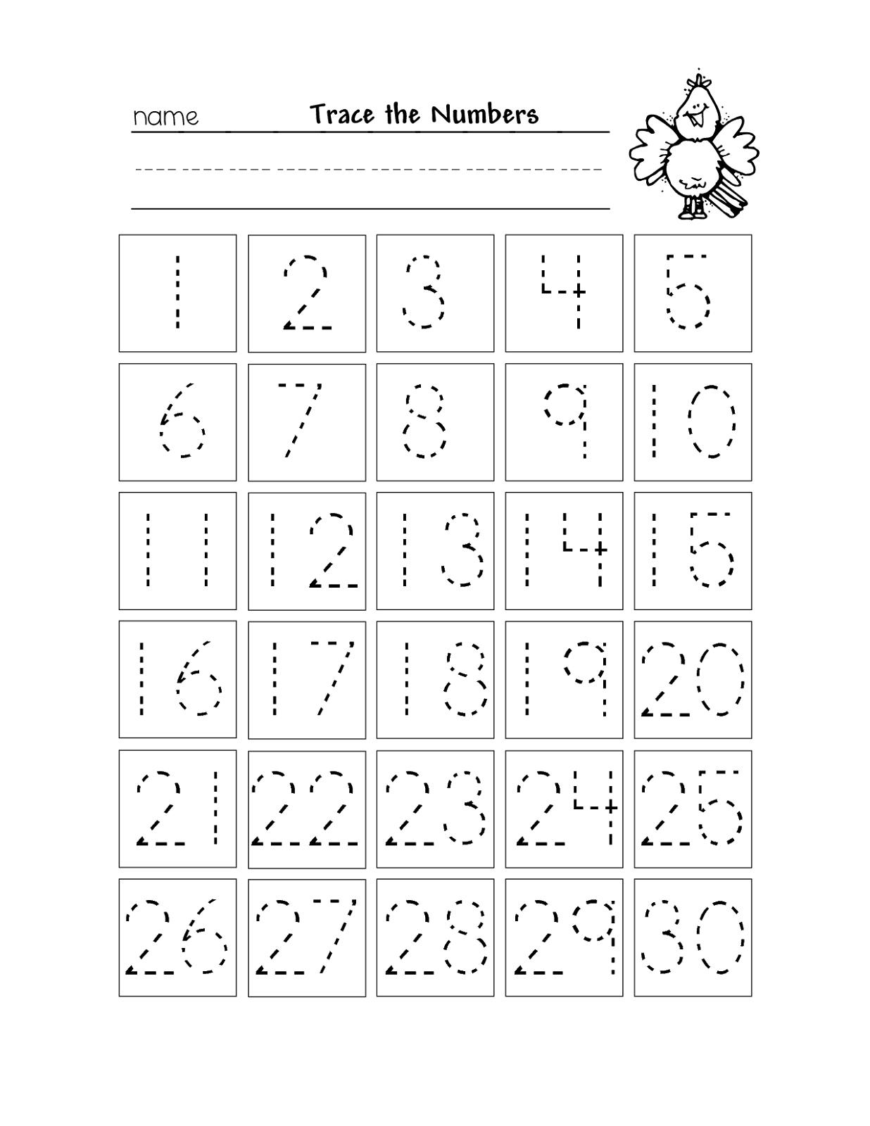 Free Printable Number Chart 1-30   Kinder   Number Tracing - Free Printable Tracing Numbers 1 20 Worksheets