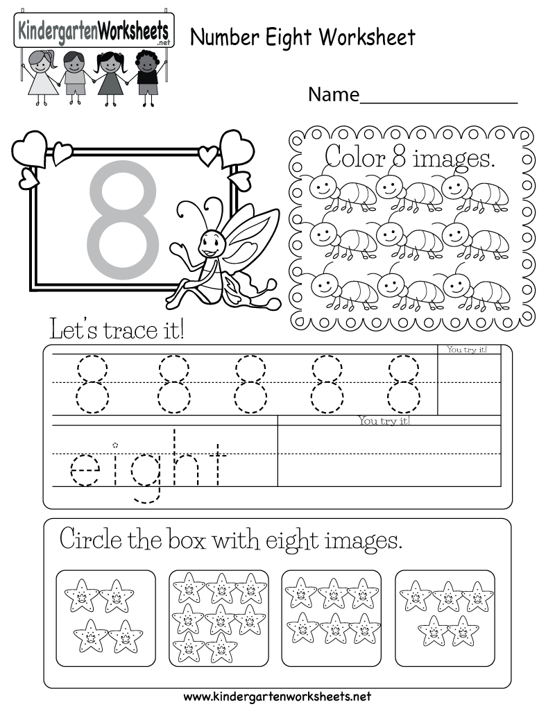 Free Printable Number Eight Worksheet For Kindergarten - Free Printable Number Worksheets