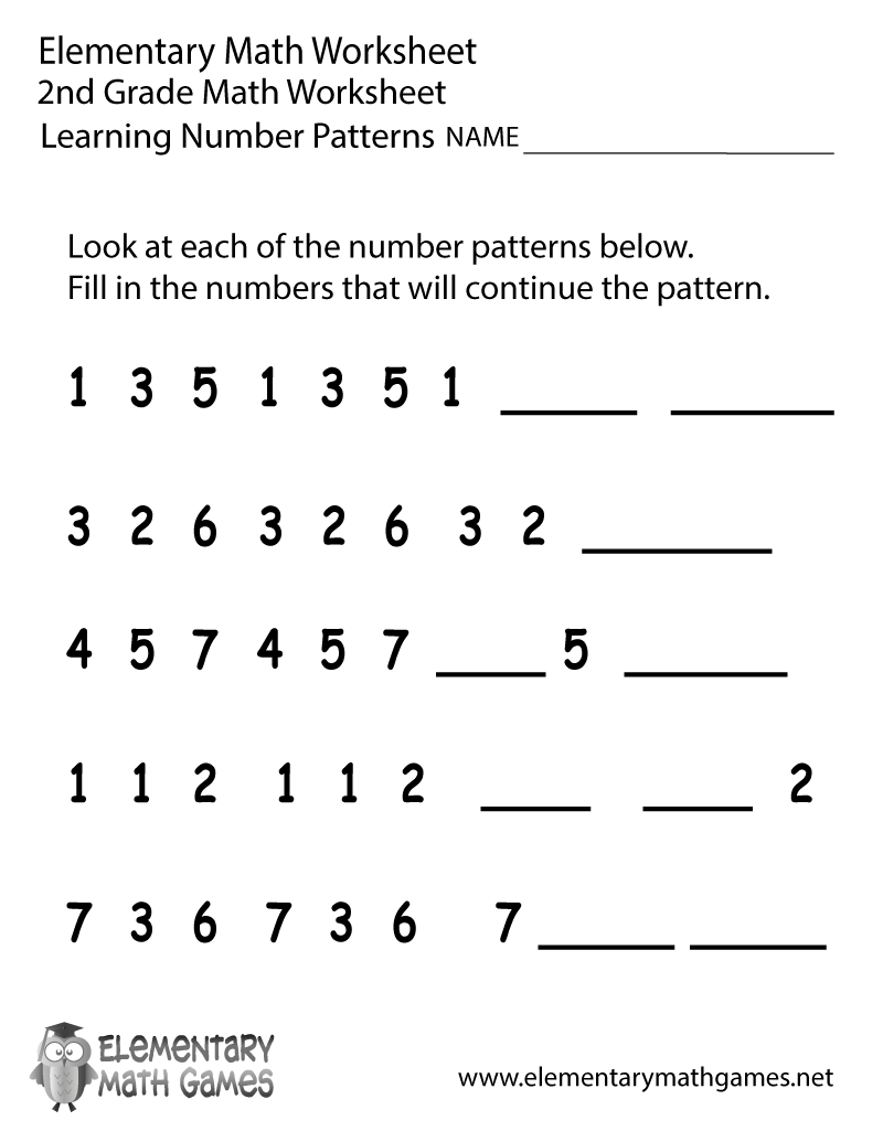 Free Printable Number Patterns Worksheet For Second Grade - Free Printable Worksheets For 2Nd Grade
