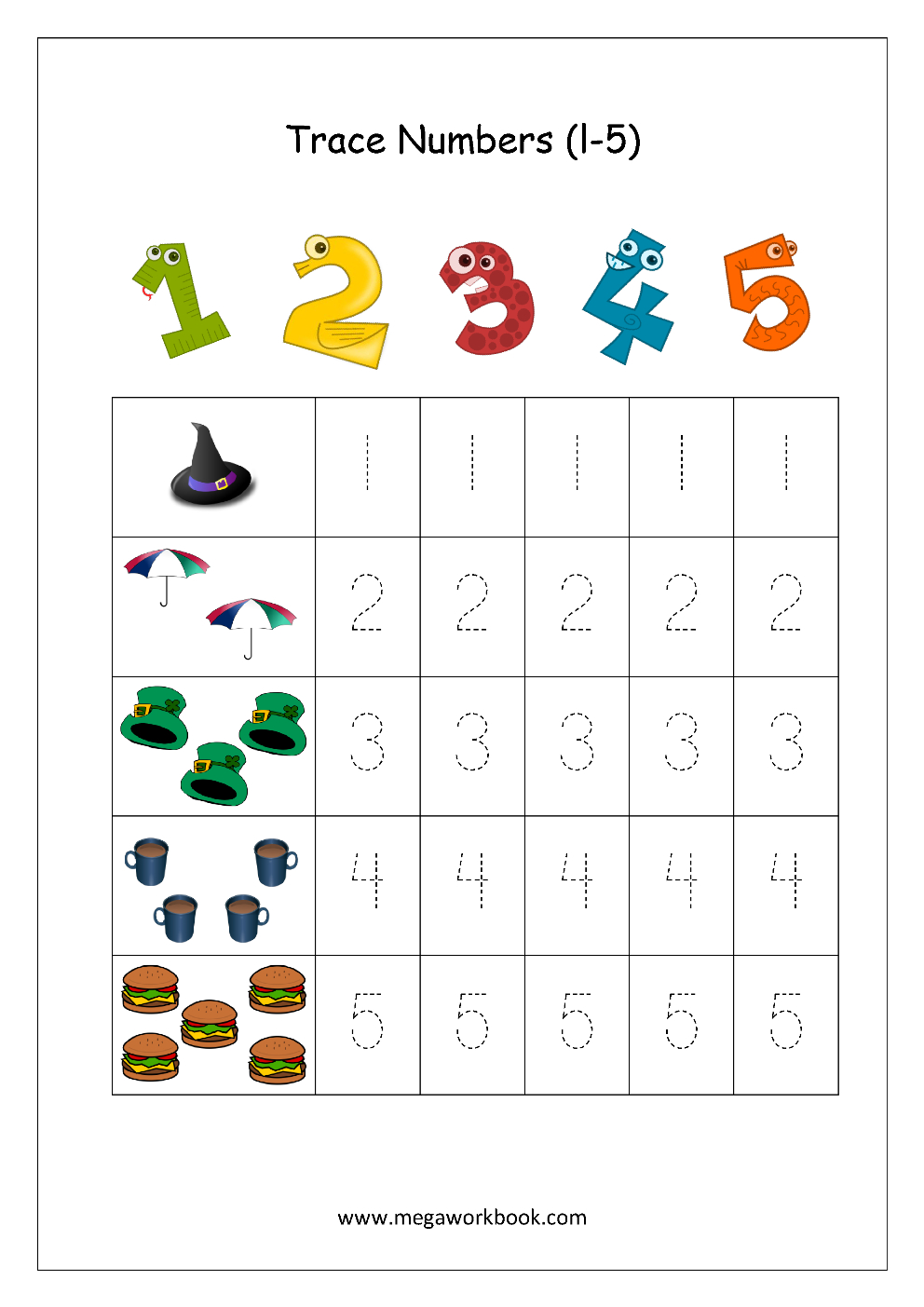 Free Printable Number Tracing And Writing (1-10) Worksheets - Number - Free Printable Numbers 1 10