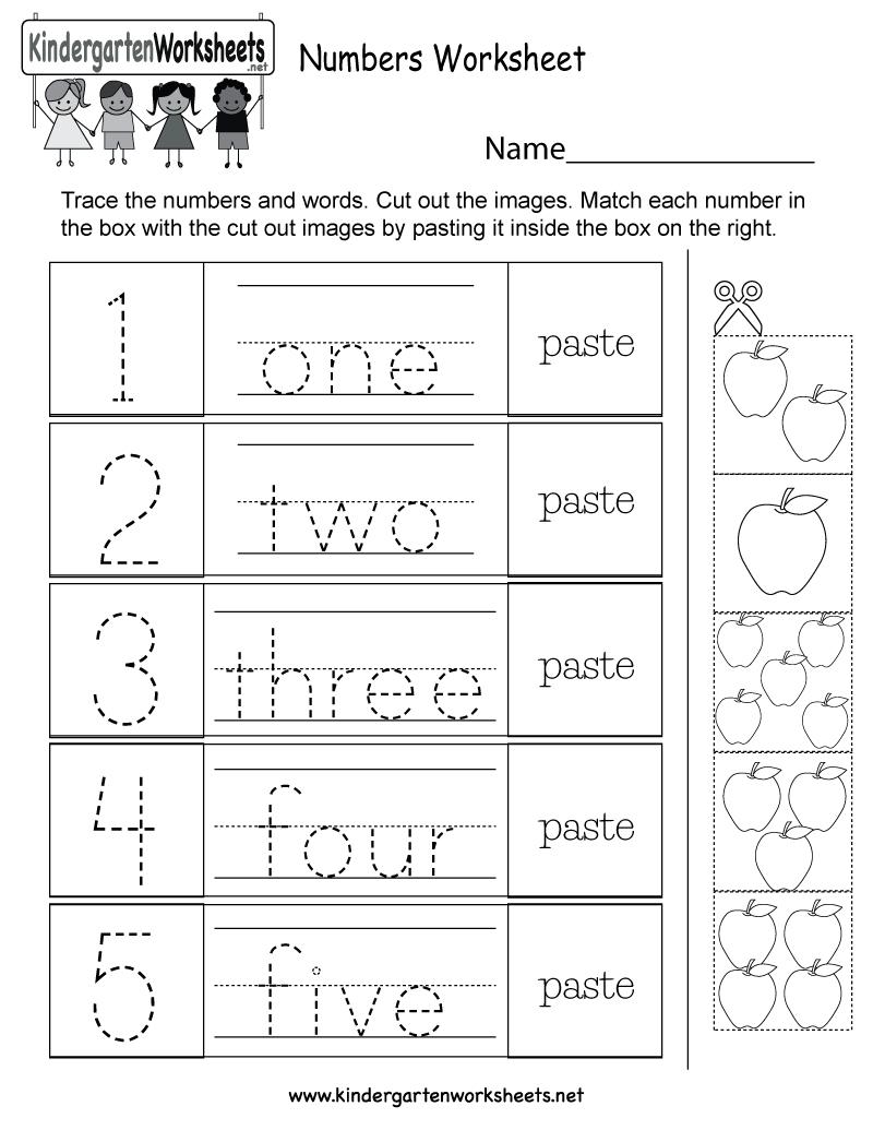 Free Printable Numbers Worksheet For Kindergarten - Free Printable Name Worksheets For Kindergarten