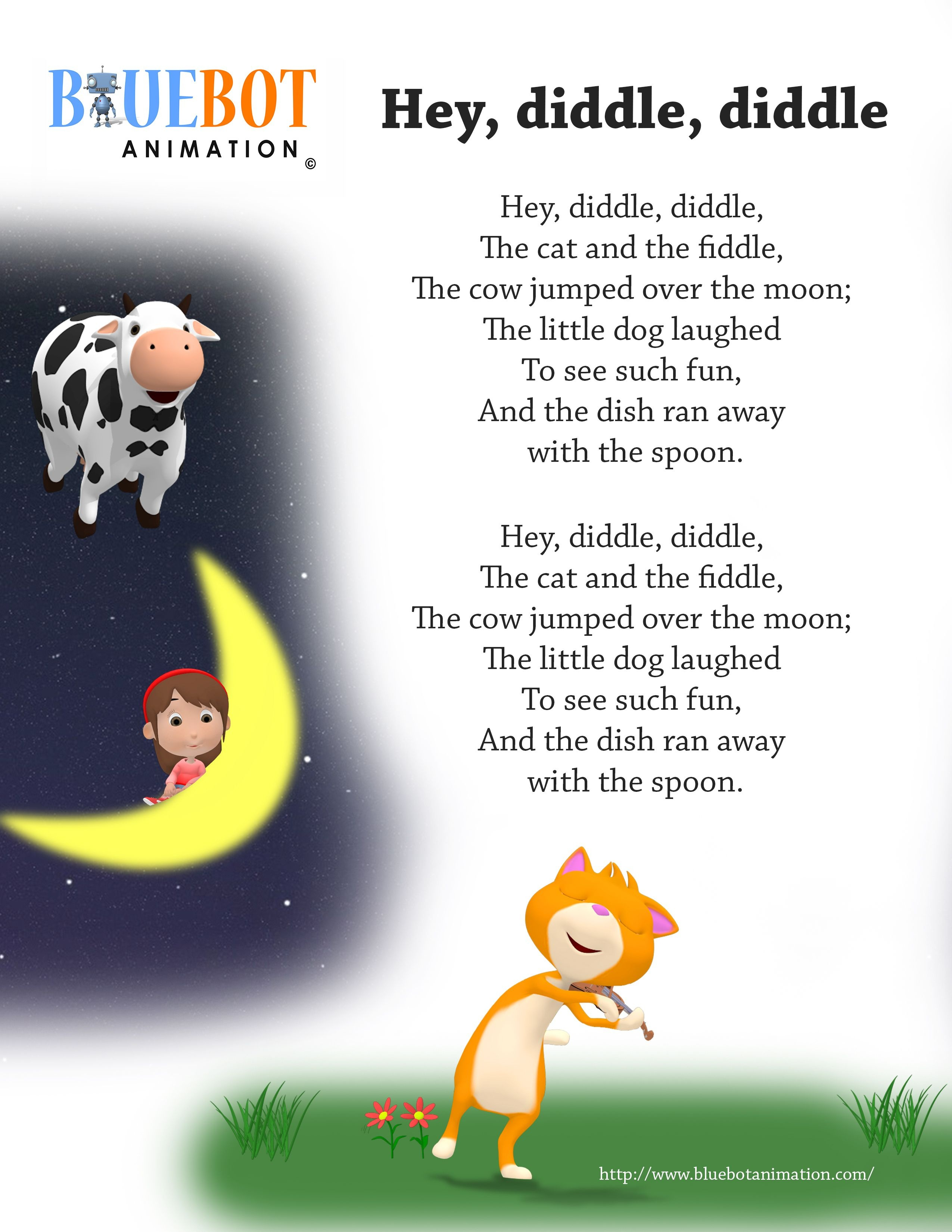 Free Printable Nursery Rhyme Lyrics Page. , Hey Diddle Diddle, Hey - Free Printable Nursery Rhymes