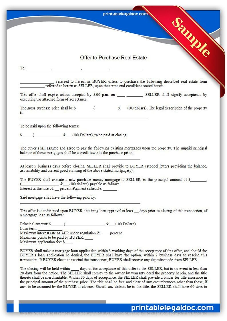 Free Printable Offer To Purchase Real Estate Legal Forms | Free - Free Printable Real Estate Forms