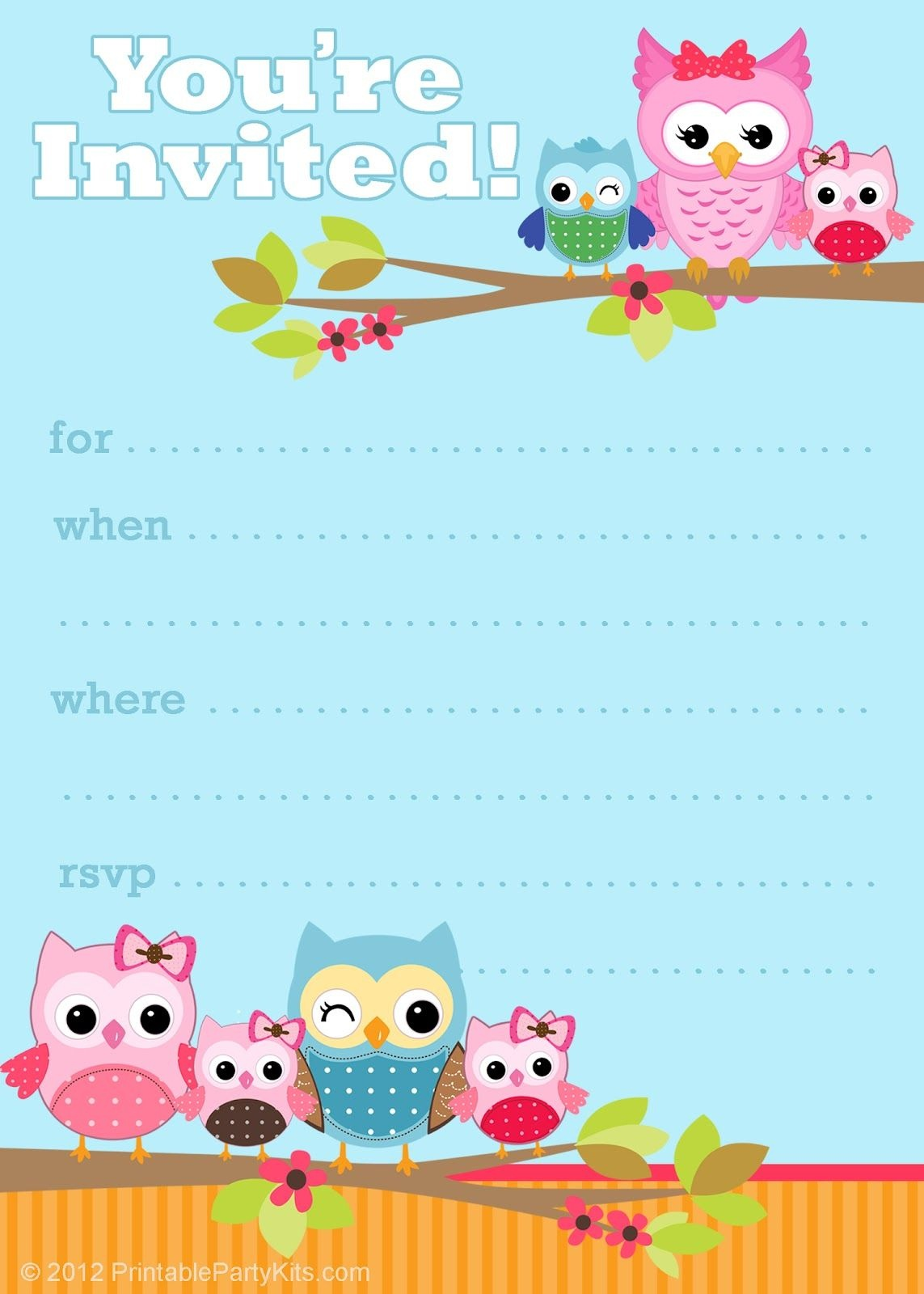 Free Printable Party Invitations: Cute Owl Invitations   Kids - Free Printable Birthday Invitations Pinterest