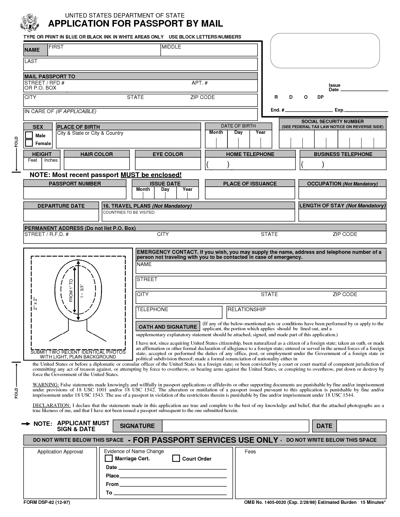 Free Printable Passport Application Form | Passport Renewal Form - Free Printable Ds 11