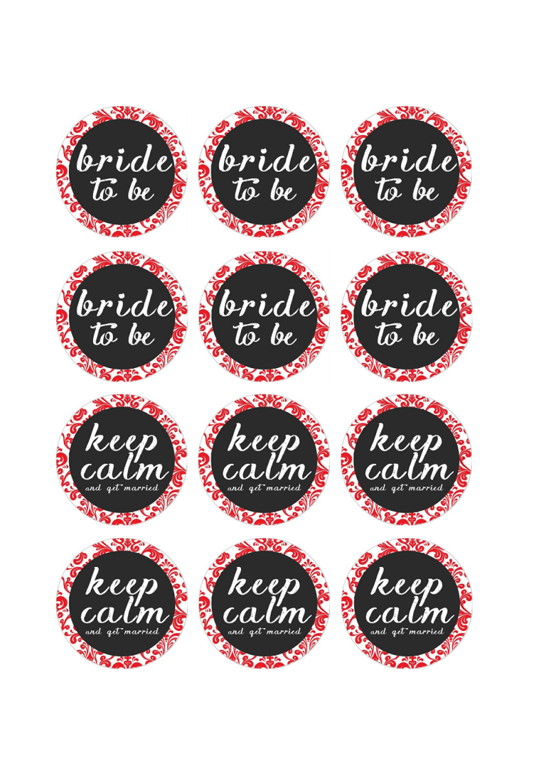 Free Printable Pdf // Bridal Shower Cupcake Toppers, Red Damask - Free Bridal Shower Printable Decorations