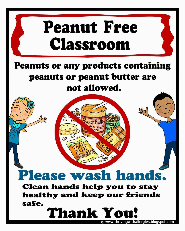 Free Printable Peanut Free Classroom Poster 8X10 | Peanut/tree-Nut - Printable Nut Free Signs