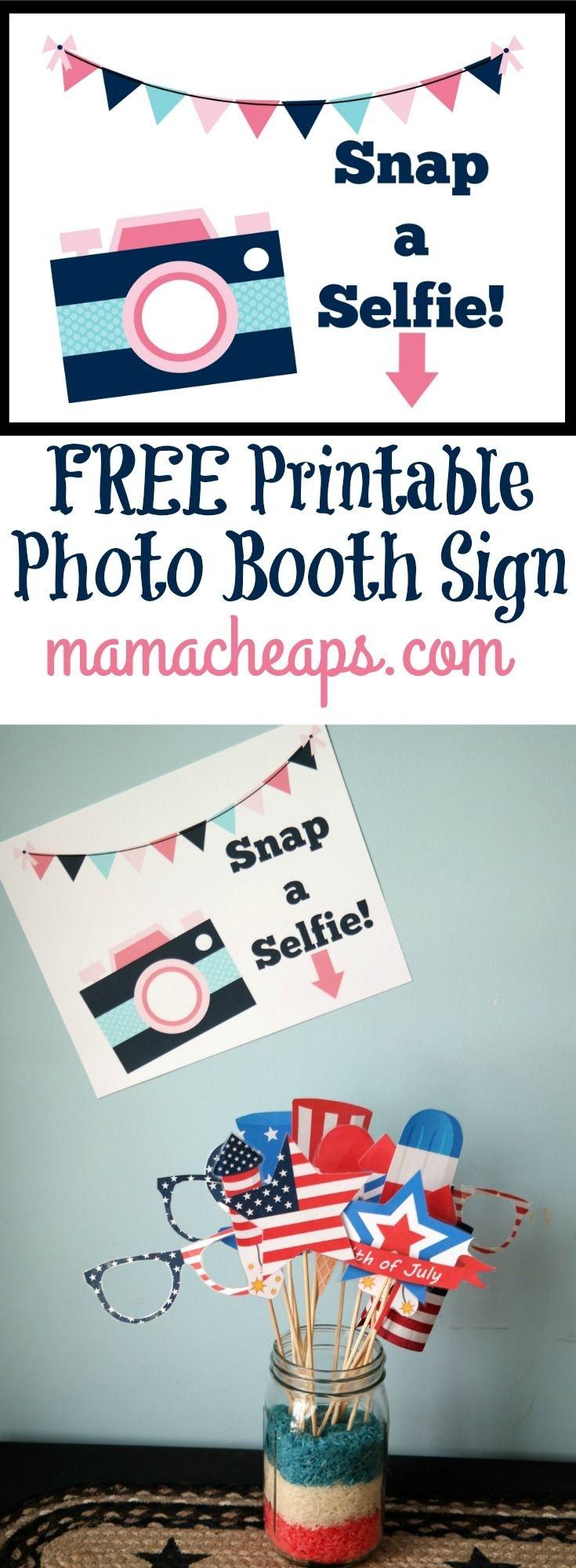 Free Printable Photo Booth Sign | Kids: Kid Birthday Party Ideas - Selfie Station Free Printable