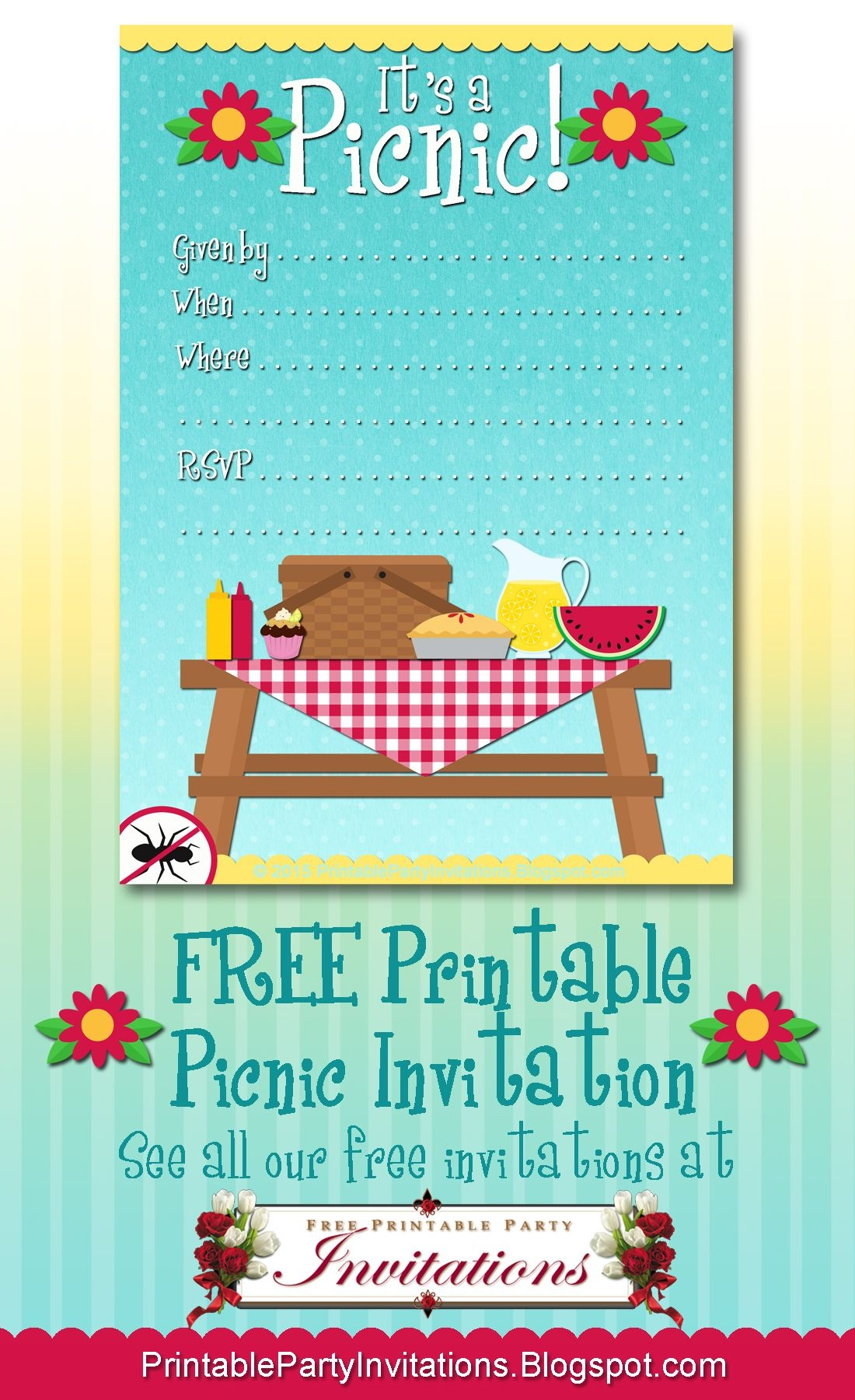 Free Printable Picnic Invitation | Party Printables | Picnic - Free Printable Flyers For Parties