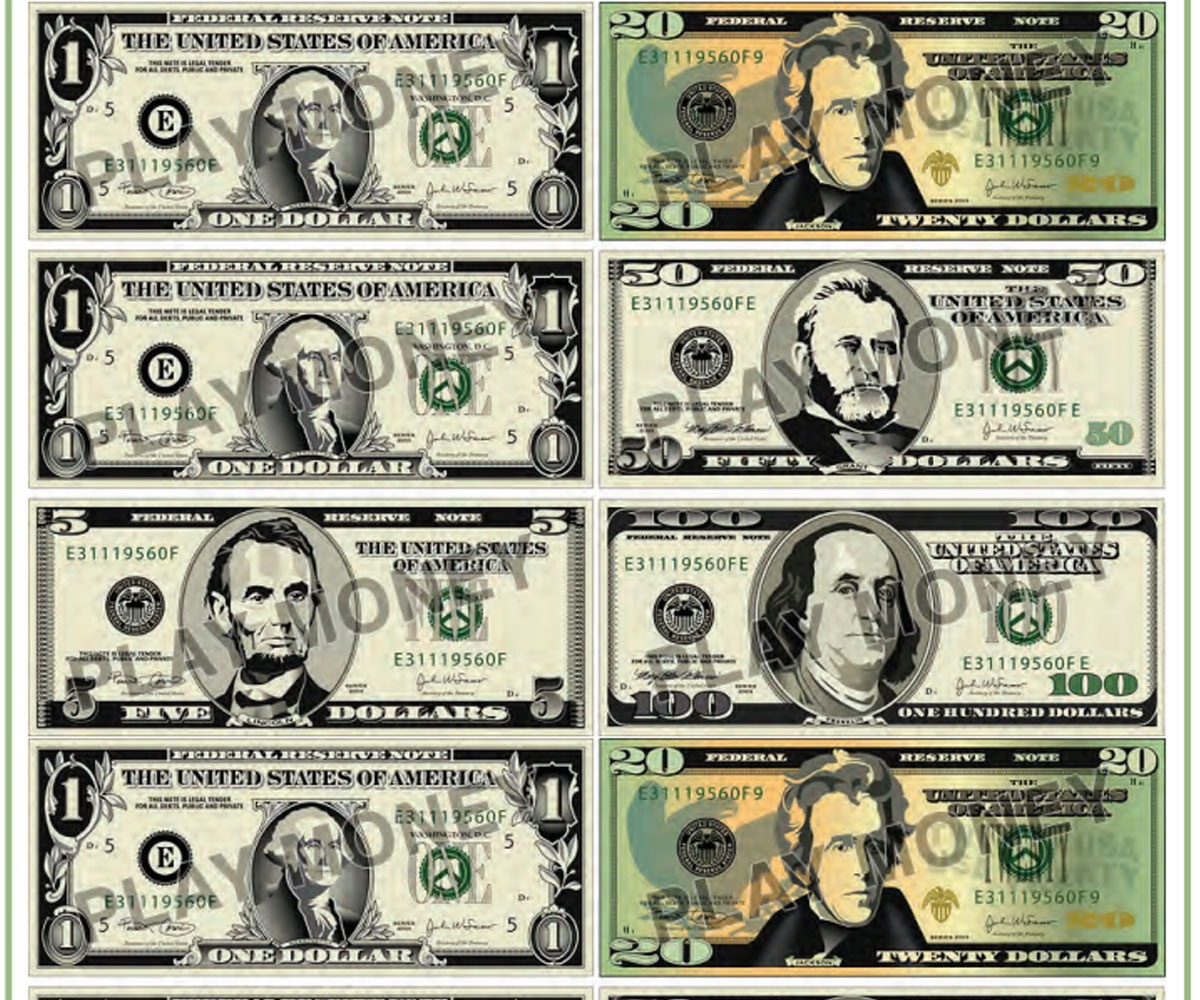 Free Printable Play Money - Familyeducation - Free Printable Us Currency