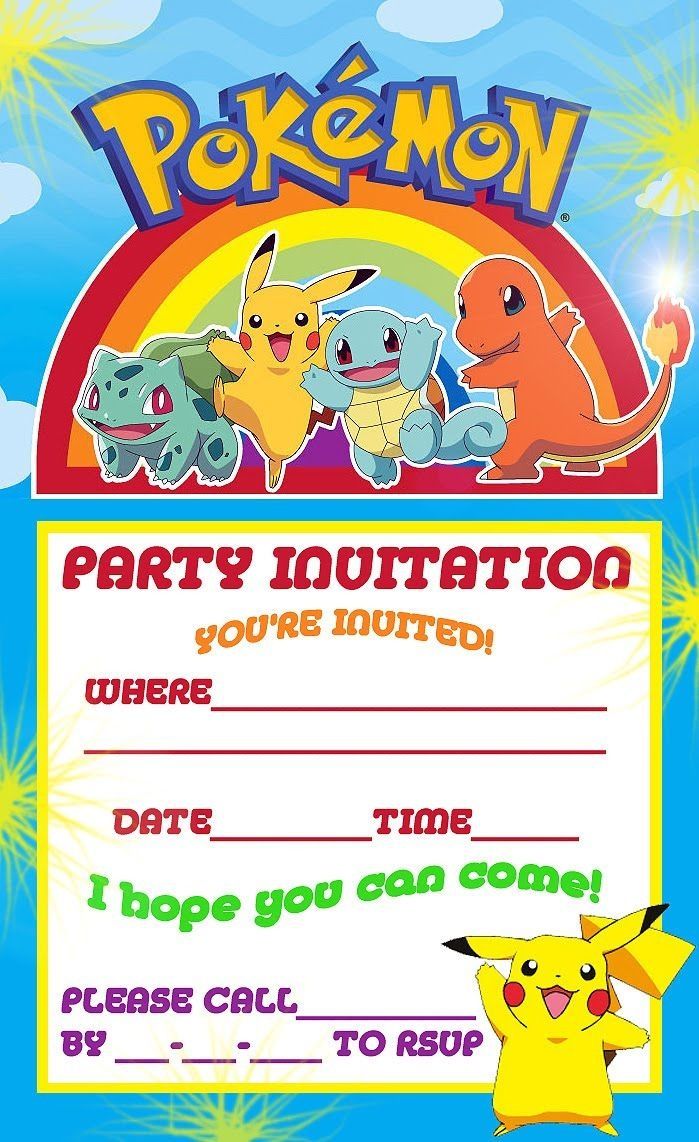 Free Printable Pokemon Birthday Party Invitations | Party Ideas - Free Printable Pokemon Birthday Invitations