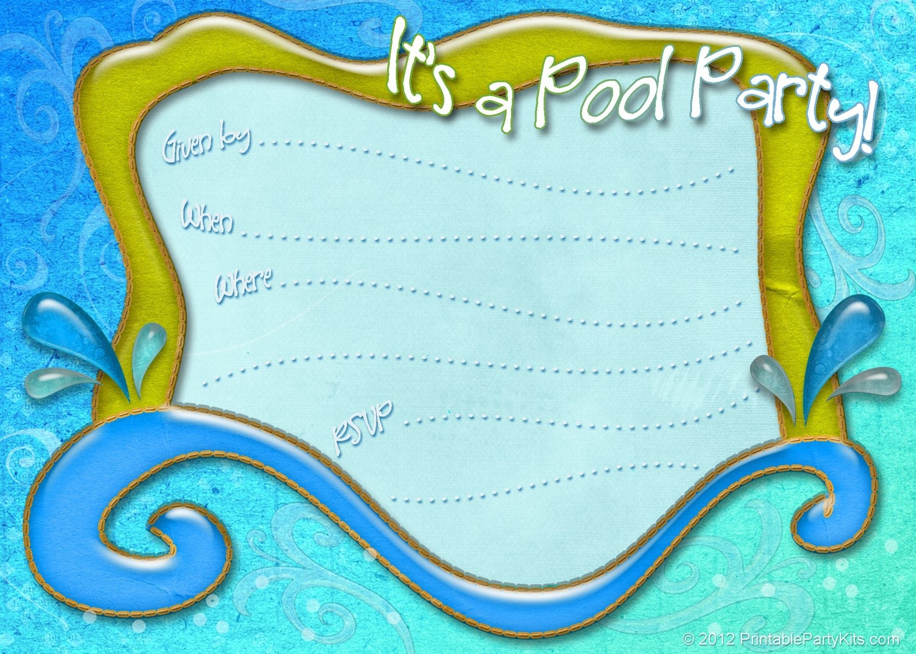 Free Printable Pool Party Invitations Templates - Tutlin.psstech.co - Pool Party Flyers Free Printable