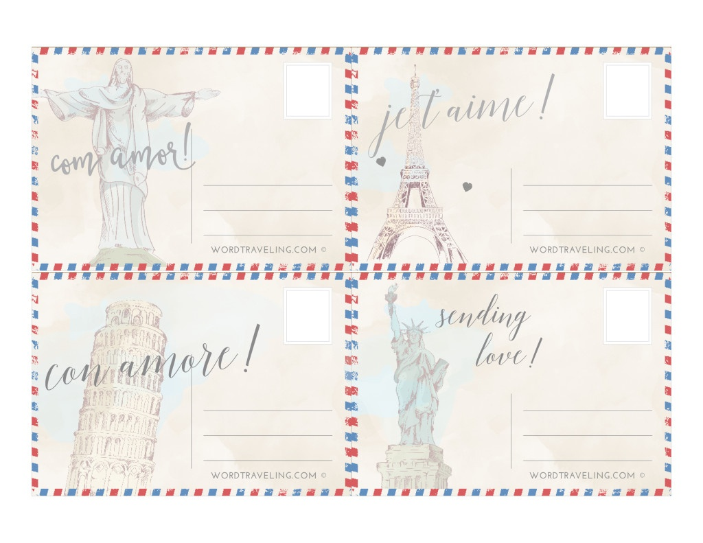 Free Printable Postcards From Around The World ~ Word Traveling - Free Printable Postcards