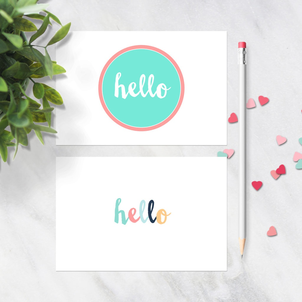 Free Printable Postcards - Hello Design - Set Of 2 Postcards - Free Printable Postcards