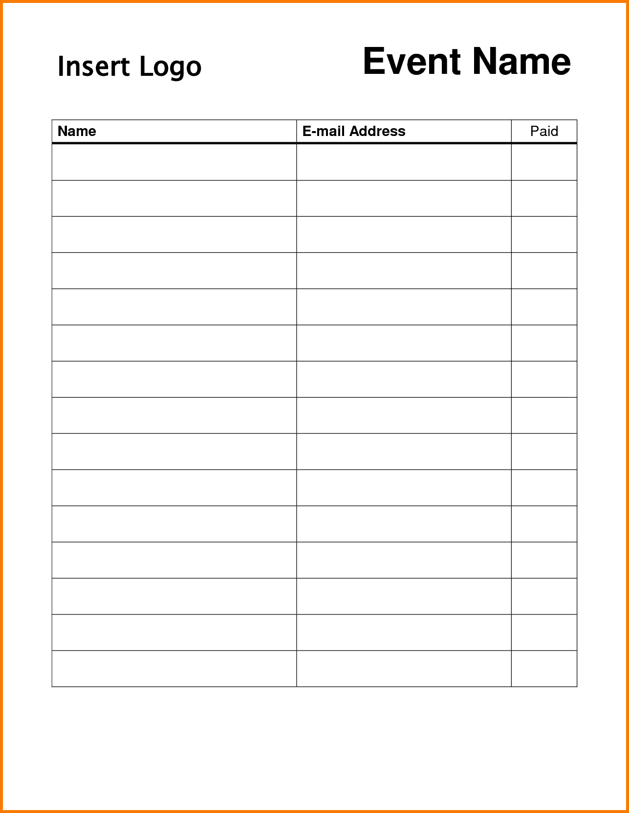 Free Printable Potluck Sign Up Sheet Template Pdf Archives - Free Printable Sign In Sheet Template
