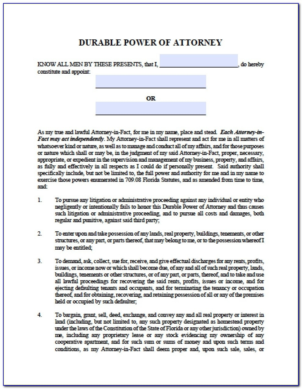 Free Printable Power Of Attorney Form Florida - Form : Resume - Free Printable Power Of Attorney Form Florida