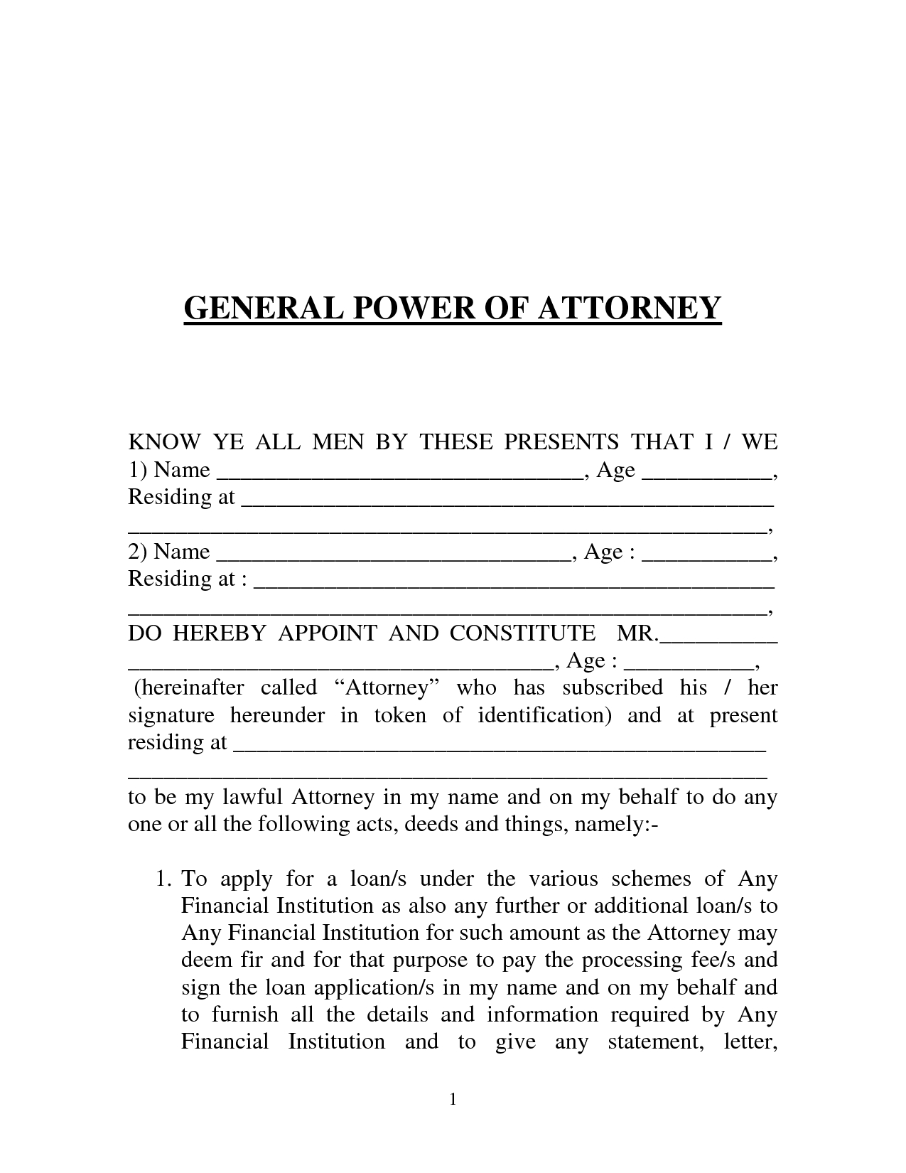 Free Printable Power Of Attorney Form (Generic) - Free Printable Power Of Attorney Forms Online