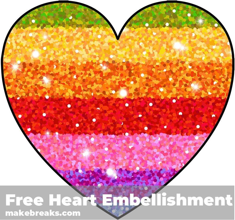 Free Printable Rainbow Glitter Heart Embellishment | Free - Free Printable Rainbow Letters