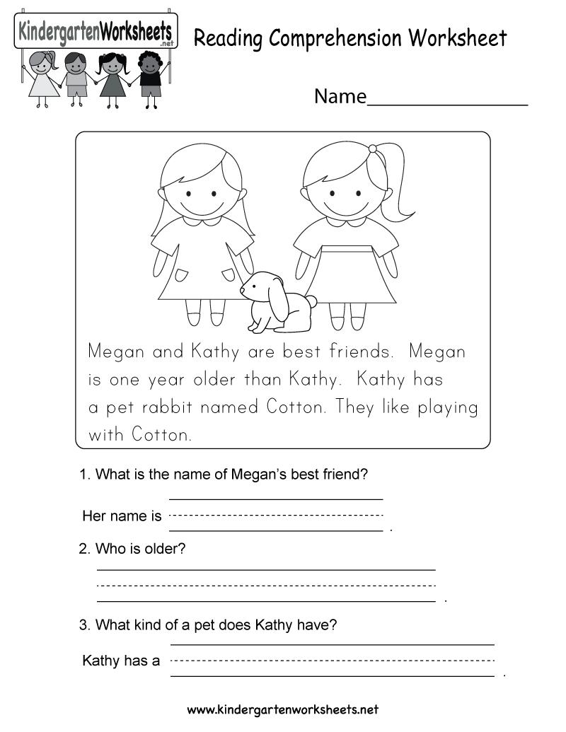 Free Printable Reading Comprehension Worksheet For Kindergarten - Free Printable Reading Worksheets