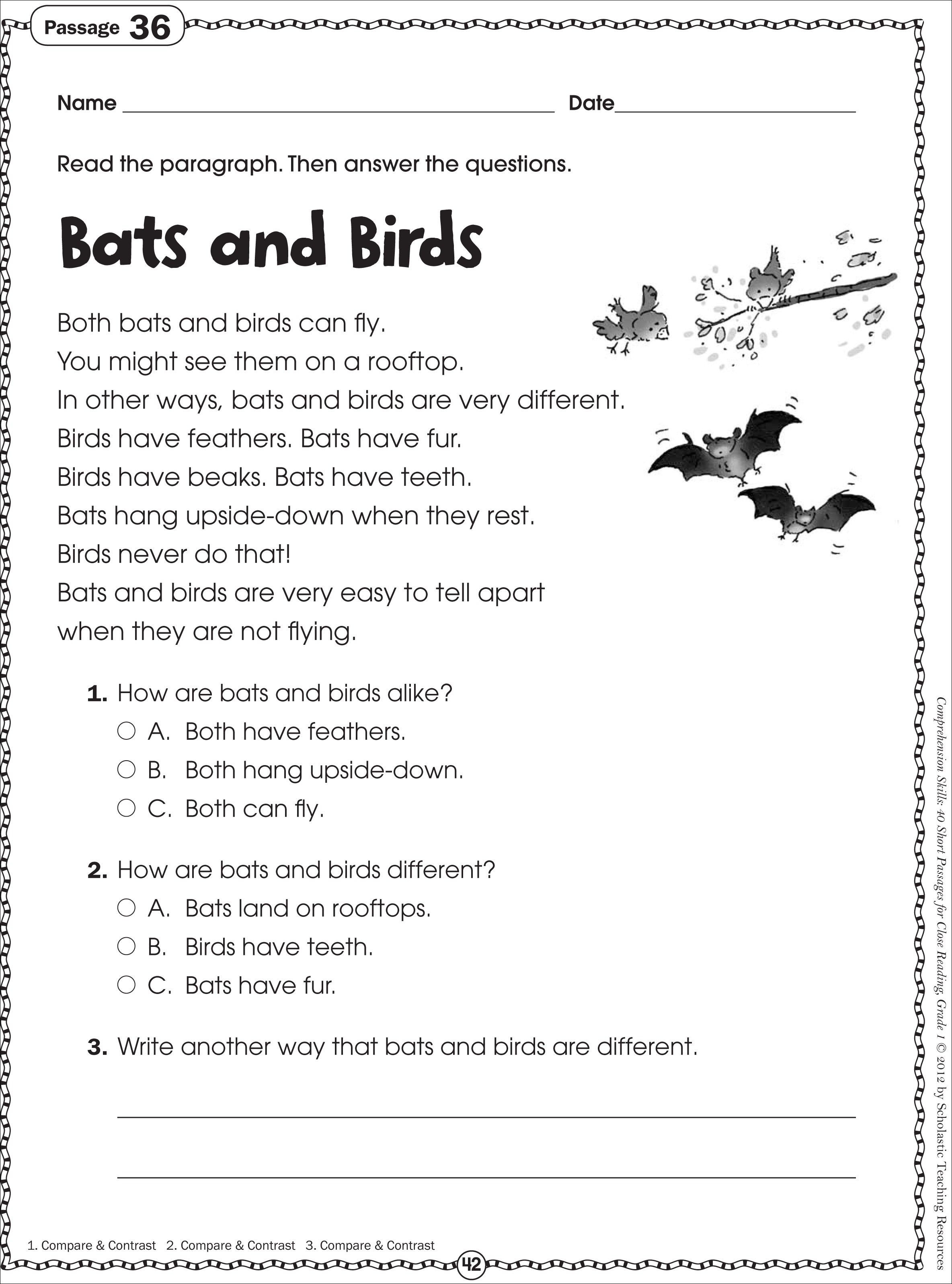 Free Printable Reading Comprehension Worksheets For Kindergarten - Free Printable Reading Passages With Questions