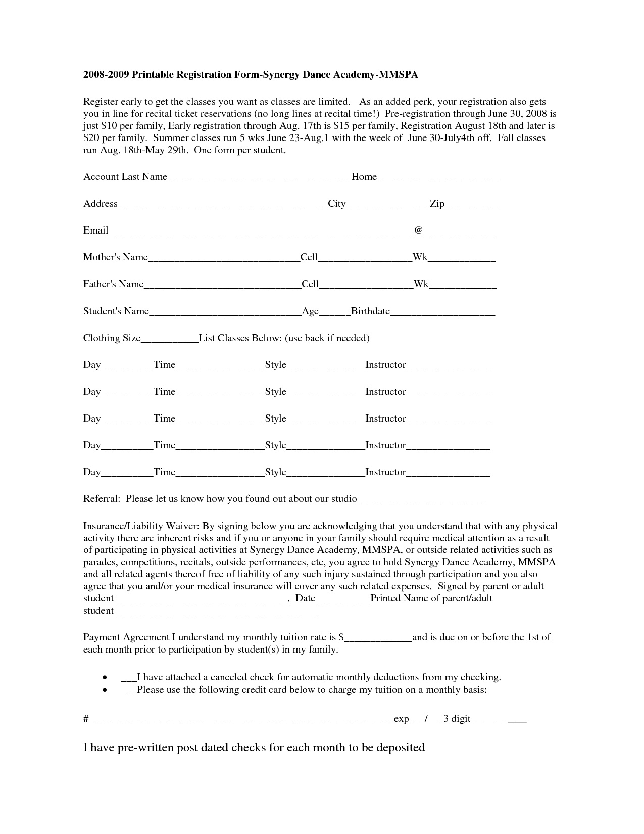 Free Printable Registration Form Template | Shop Fresh - Free Printable Membership Forms