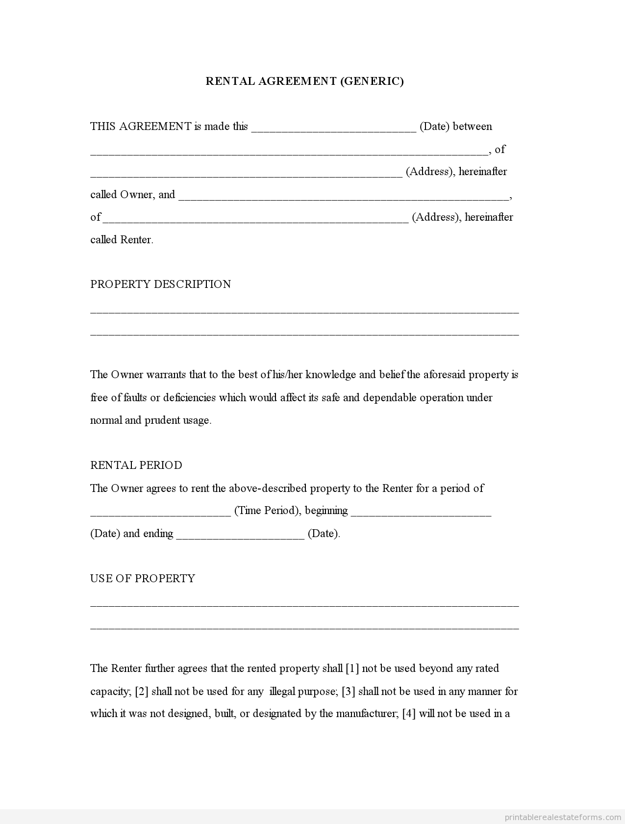 Free Printable Rental Agreement   Rental Agreement (Generic)0001 - Free Printable Lease Agreement Forms