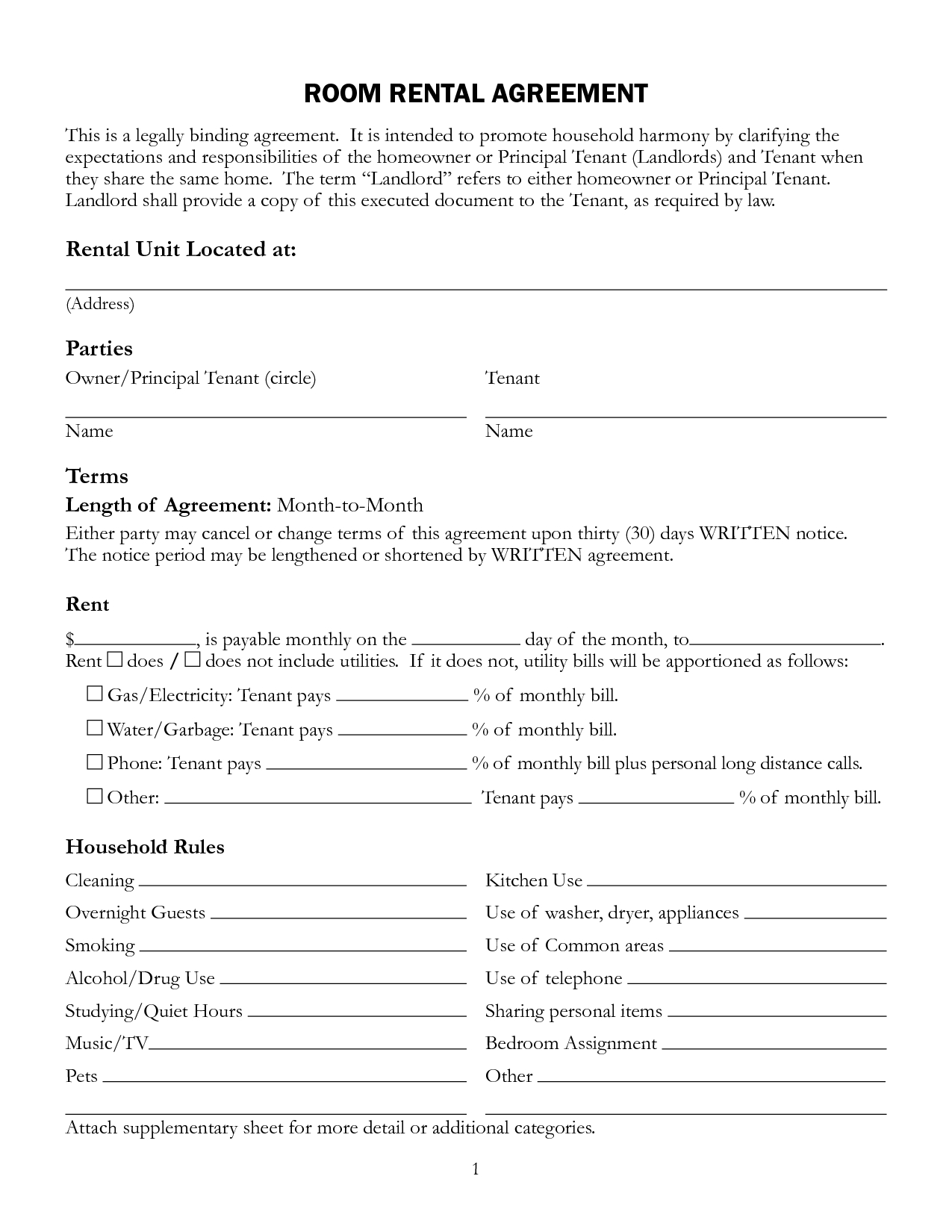 Free Printable Rental Lease Agreement Form Template | Bagnas - Free Printable Room Rental Agreement Forms