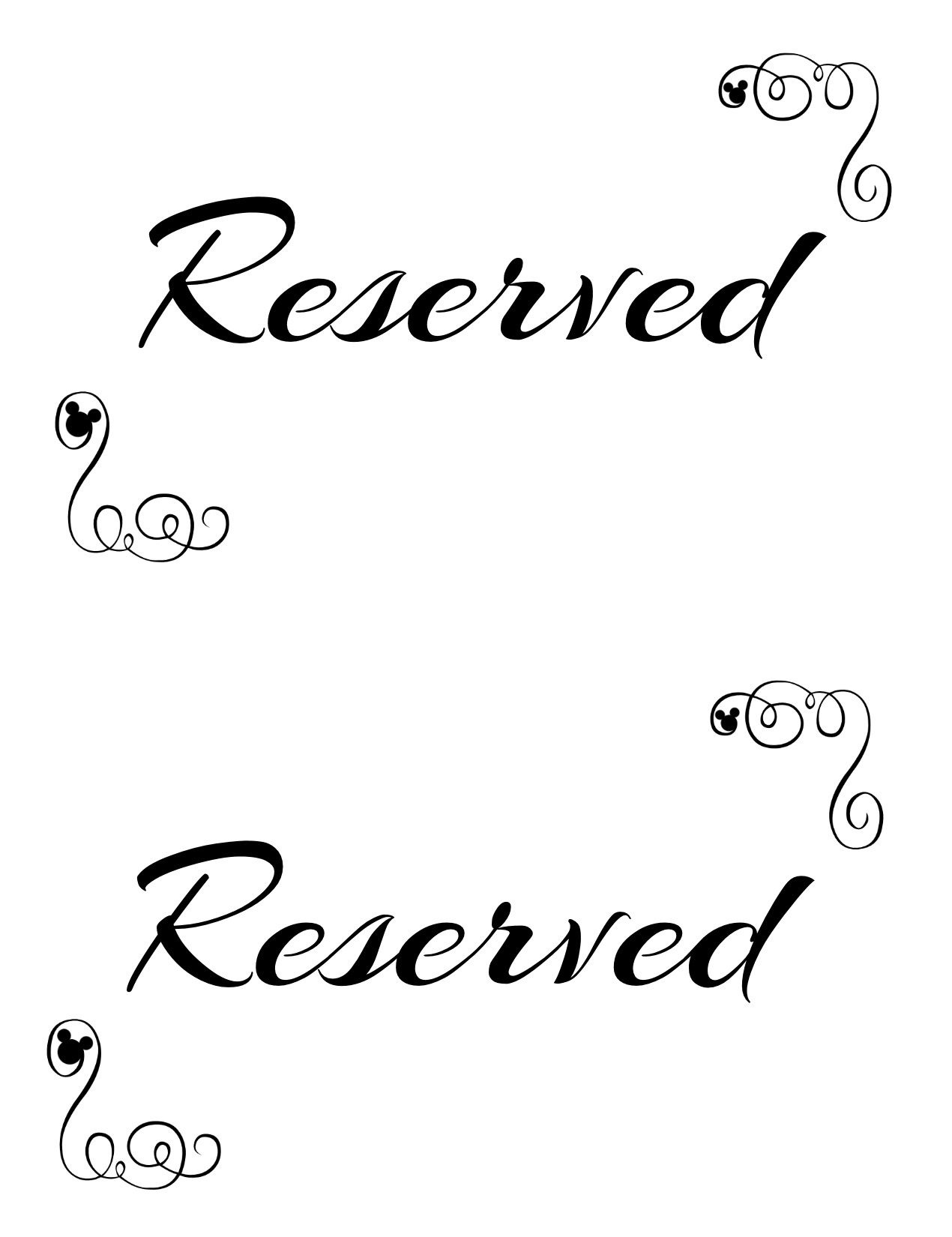 Free Printable Reserved Seating Signs For Your Wedding Ceremony - Free Printable Sign Templates