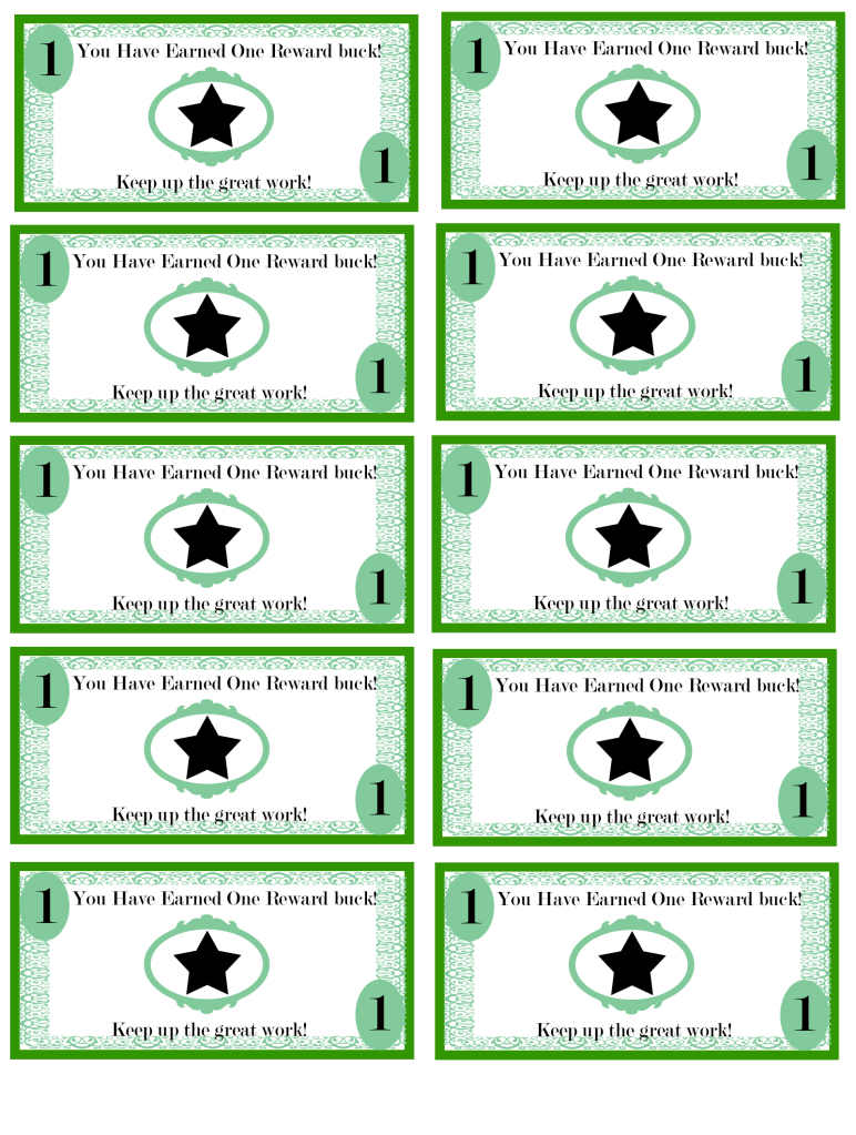 Free Printable Reward Bucks For Kids: Money Theme. I'm Using These - Free Printable Chore Bucks