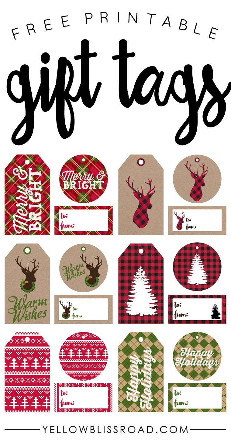 Free Printable Rustic And Plaid Gift Tags - Yellow Bliss Road - Free Printable Christmas Tags