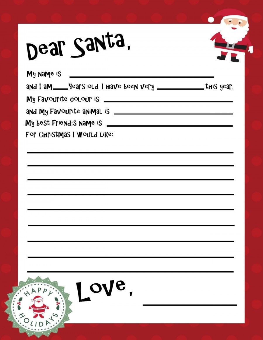 Free Printable Santa Letter Template | Holiday Christmas | Free - Free Printable Santa Letter Paper