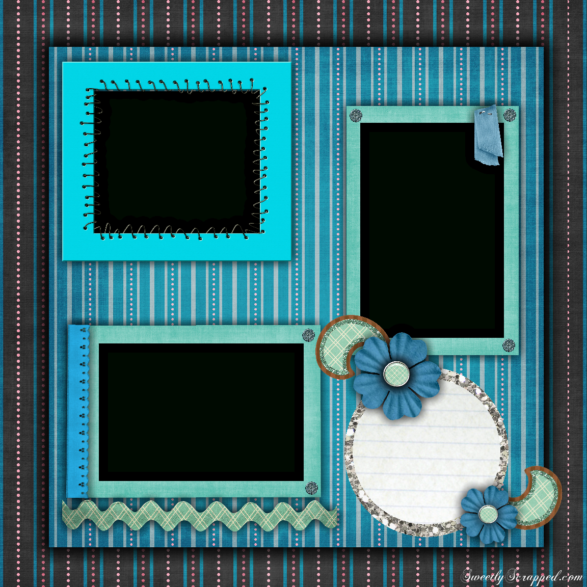 Free Printable Scrapbook Layouts | Blue And Stripes Layout File Size - Free Printable Scrapbook Pages