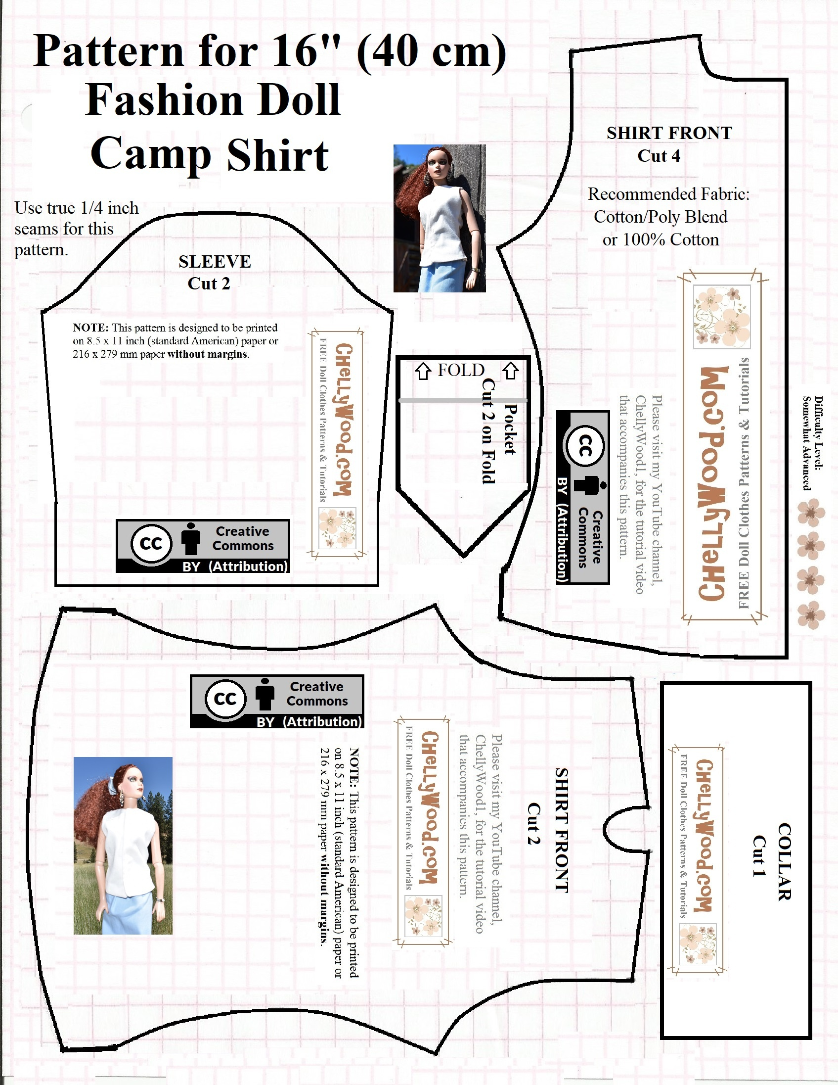Free Printable #sewing Pattern For 16″ Or 17″ #dolls' Camp Shirt - Free Printable Sewing Patterns