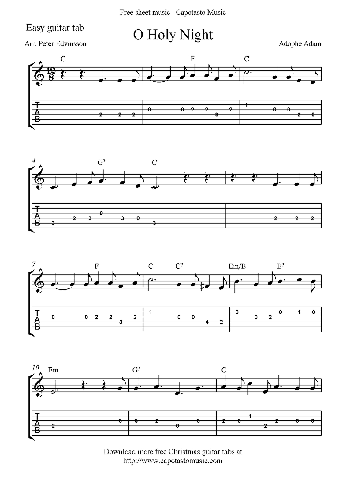 Free Printable Sheet Music: O Holy Night, Free Easy Christmas Guitar - Free Printable Guitar Tabs For Beginners
