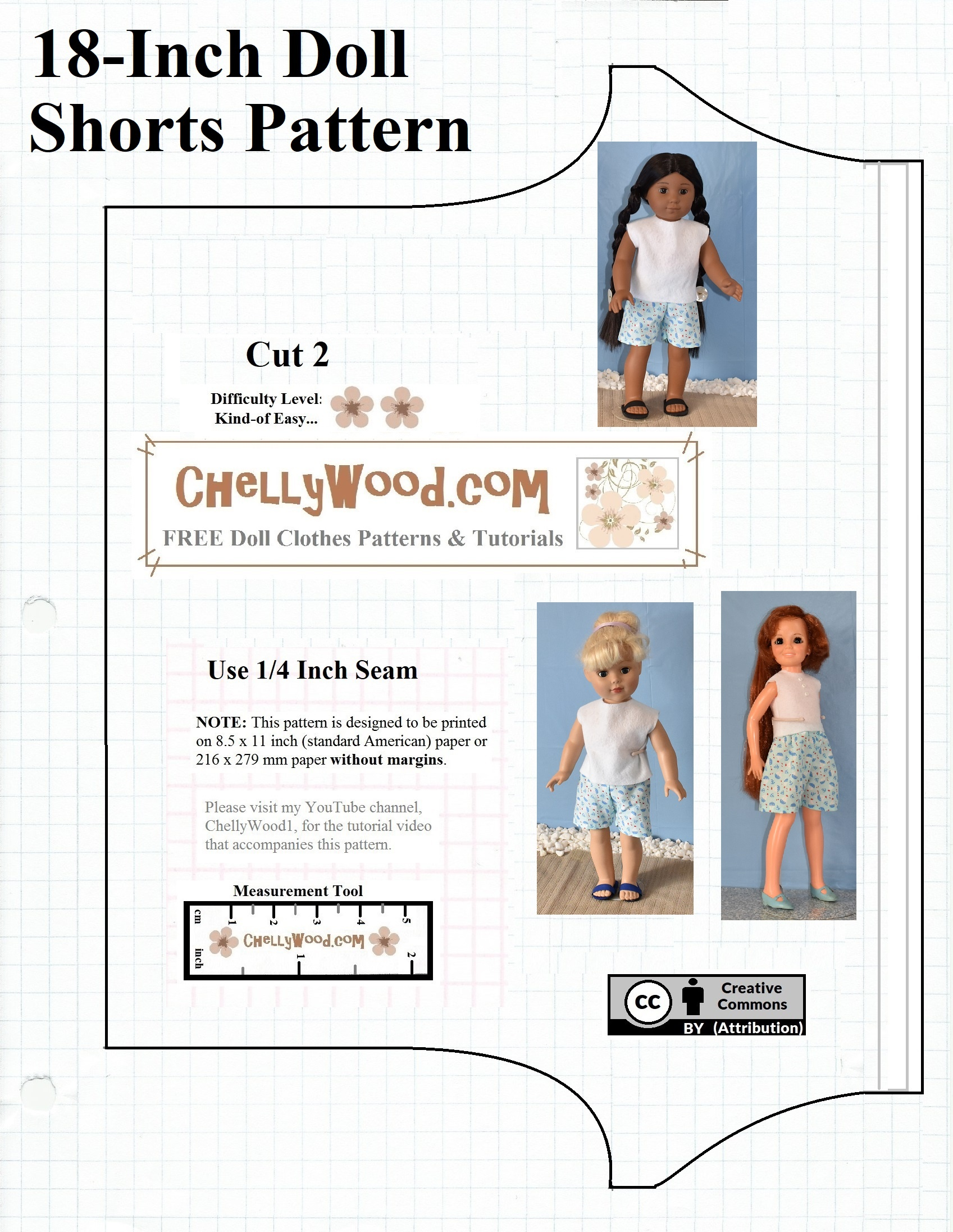 Free Printable Shorts #patterns For #americangirl And Other 18-Inch - Free Printable Doll Clothes Patterns For 18 Inch Dolls