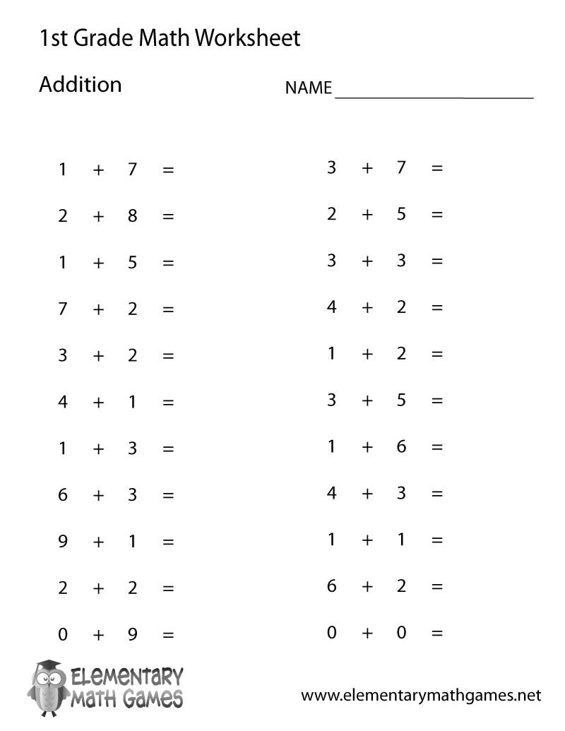 Free Printable Simple Addition Worksheet For First Grade - Free Printable Simple Math Worksheets