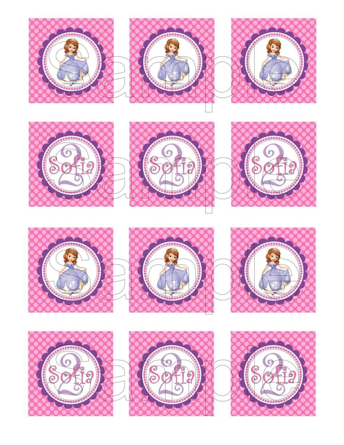 Free Printable Sofia The First Birthday Invitations. Printable - Free Printable Sofia Cupcake Toppers