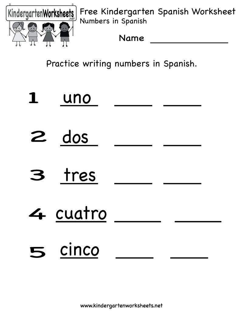 Free Printable Spanish Worksheet For Kindergarten - Free Printable Spanish Worksheets
