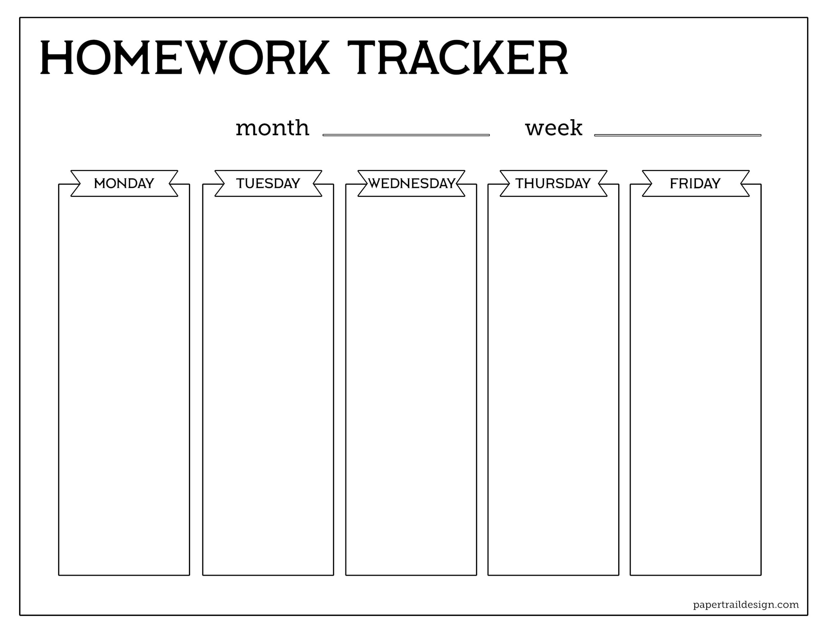 Free Printable Student Homework Planner Template - Paper Trail Design - Free Printable Homework Templates