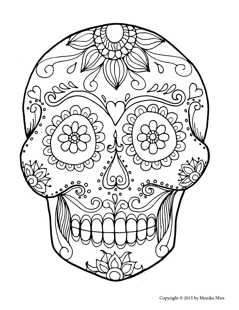 Free Printable Sugar Skull Coloring Sheets - Lucid Publishing - Free Printable Sugar Skull Coloring Pages