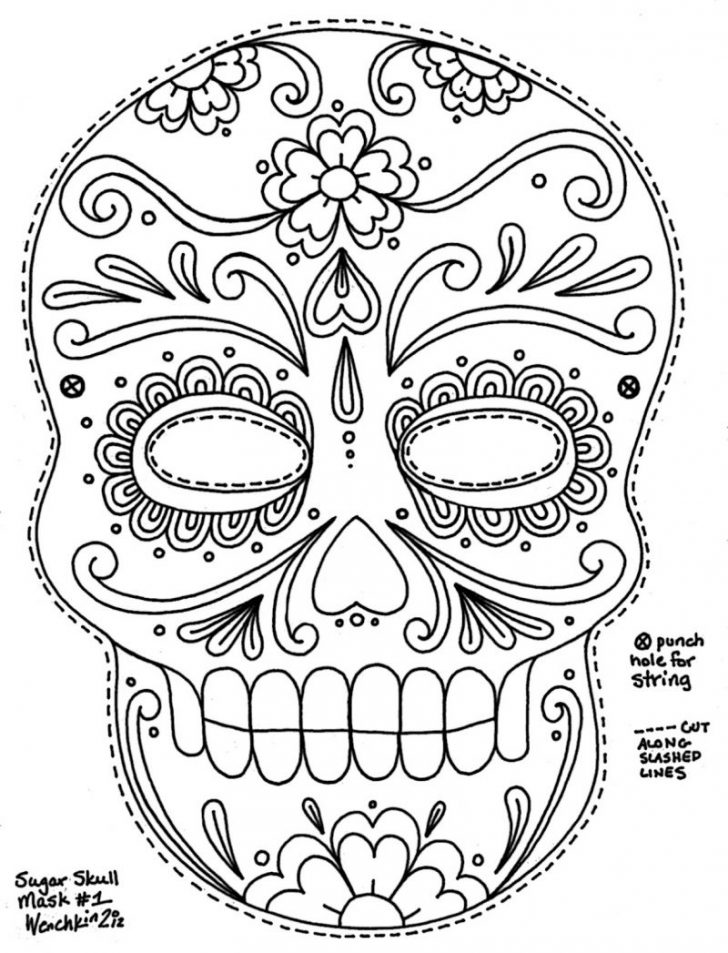 Free Printable Sugar Skull Day Of The Dead Mask