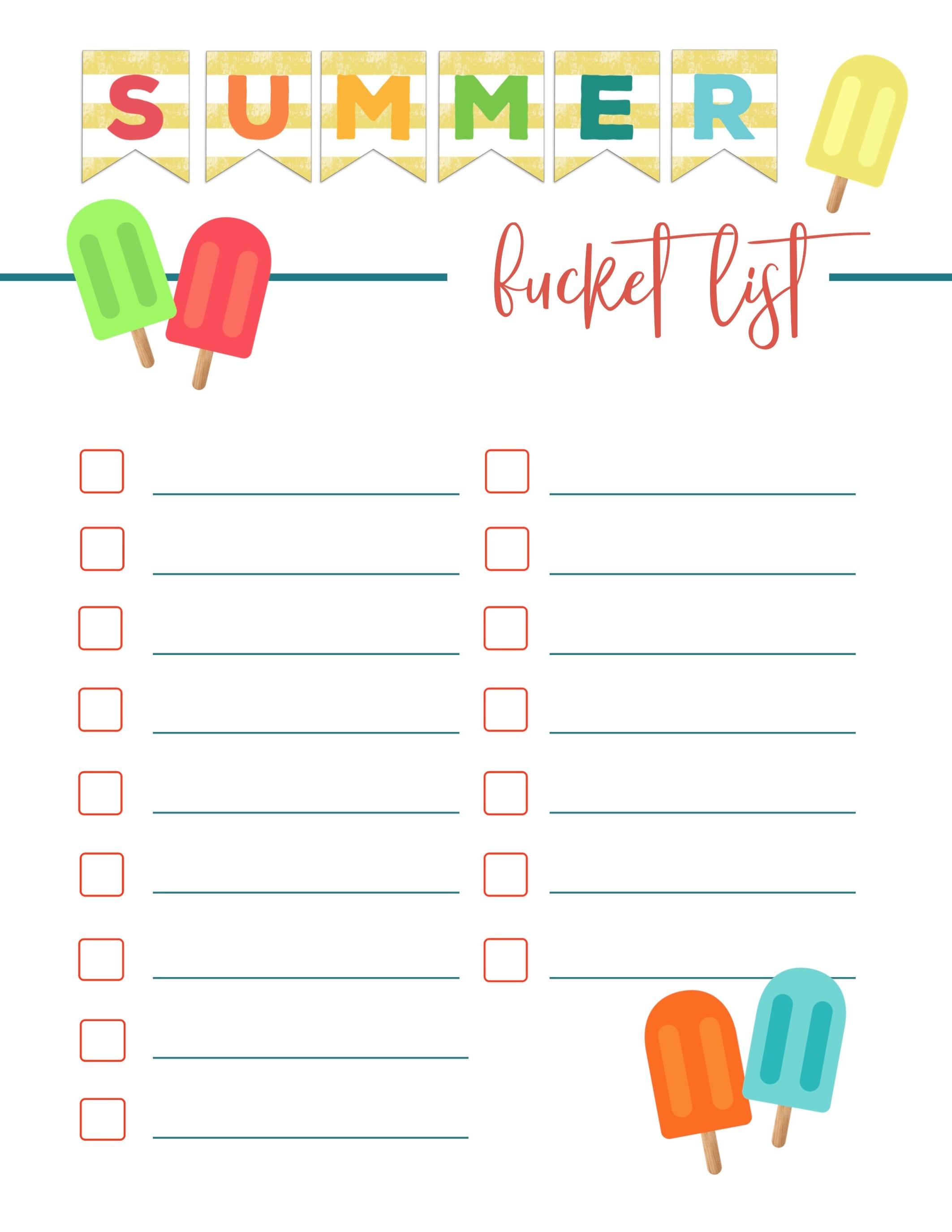 Free Printable Summer Bucket List Ideas Template - Paper Trail Design - Free Printable Summer Pictures