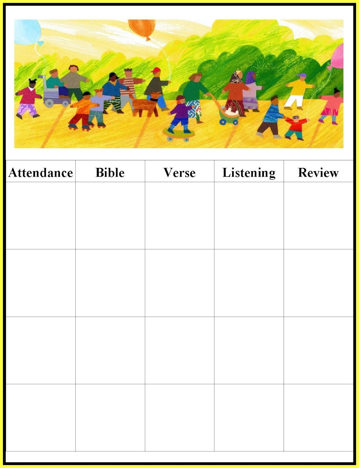Free Printable Sunday School Attendance Chart   Chainimage - Free Printable Sunday School Attendance Sheet