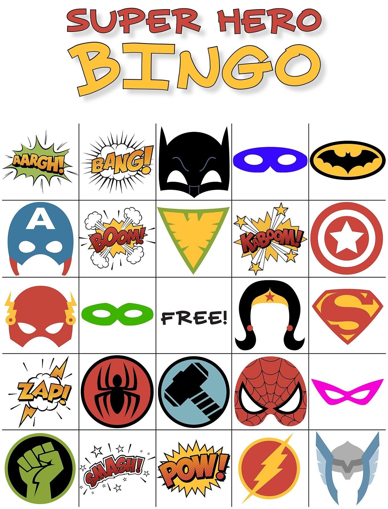Free Printable Super Hero Bingo Party | Avengers Infinity War - Free Printable Superhero Pictures