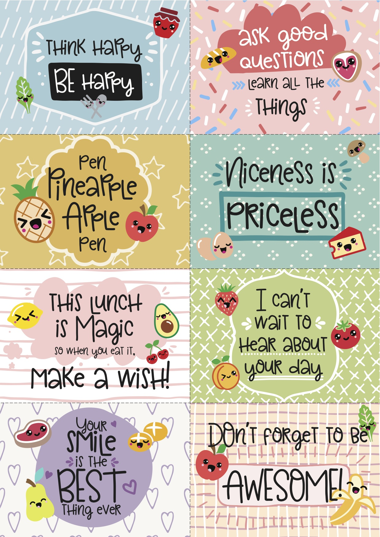 Free Printable Super-Kawaii Lunchbox Notes - Free Printable Lunchbox Notes